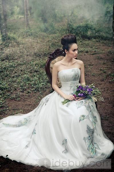 pecock wedding dress