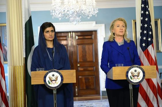 Secretary Clinton with Pakistani Foreign Minister Hina Rabbani Khar in the Treaty Room at the State Dept. photo by Michael Gross. (State Dept Image). I just thought it was cool that Pakistan's Foreign Minister is a woman, and that they're condemning the violent actions of protesters (while acknowledging the film that caused it all is offensive and disgusting).