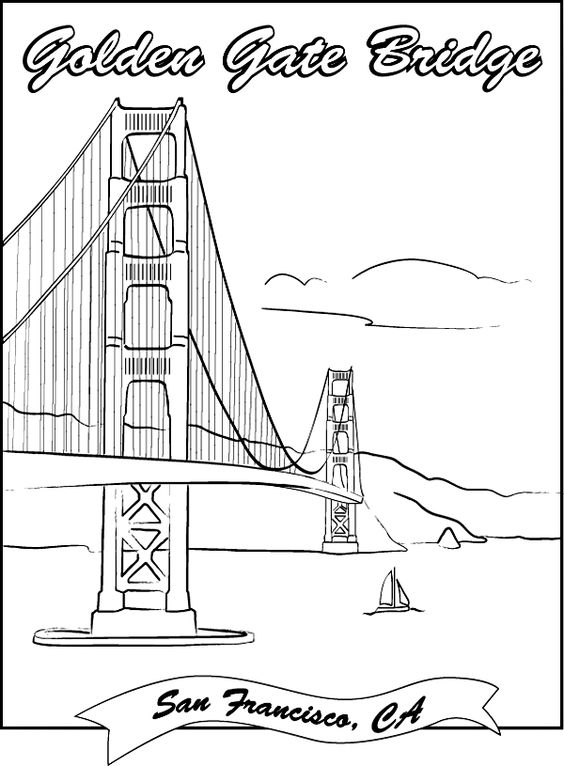golden gate bridge coloring page geography famous landmarks pinterest coloring coloring. Black Bedroom Furniture Sets. Home Design Ideas
