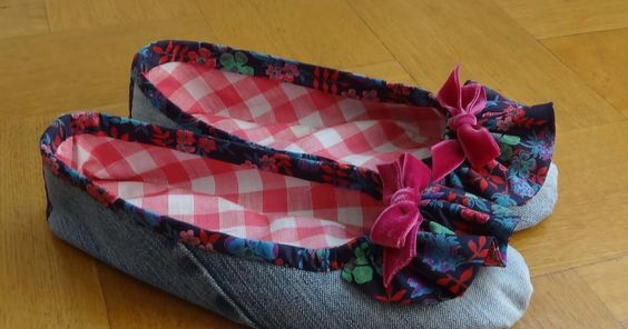 C lick here for PDF version and patterns  These pretty ballet slippers -- a most enjoyable and fun sewing project -- can be made in a leisu...