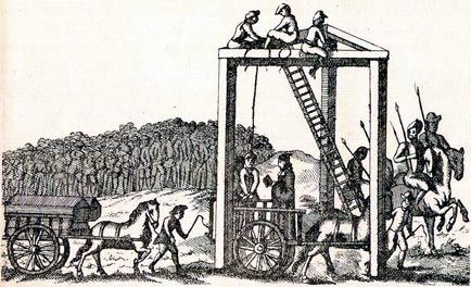 """Execution in1534 of Elizabeth Barton, known as the Maid, or Nun, of Kent. Born in 1506 at Aldington, Kent. An illness in her nineteenth year resulted in hysteria and religious mania.  Her utterances were cunningly directed towards political matters, and a profound and widespread sensation was caused by her declaration that should Henry persist in his intention of divorcing Catherine, he """"should no longer be king of this realm, and should die a villain's death""""."""