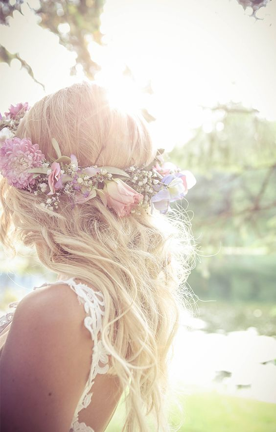 Bride with hair crown, beach waves, bridal hair   Vintage style wedding photography   www ...