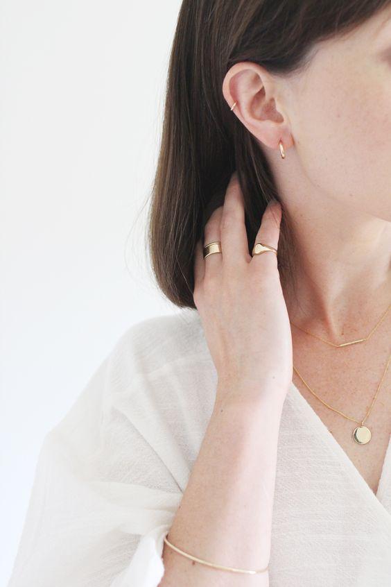 Minimal jewellery.