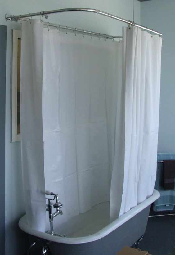 180 Shower Curtain For Clawfoot Tubs 55 Add A Tile Wall And Floor To Eliminate Water Problems