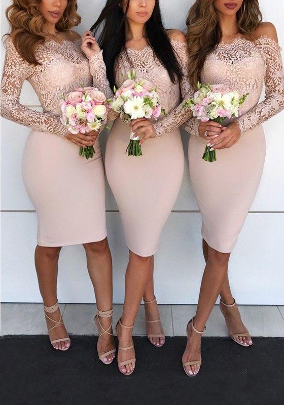 Rosa Flickwerk Spitze Off Shoulder Schulterfrei Langarm Elegante Enges Midikleid Partykleid Brautjungfernkleider Kleid Hochzeit Brautjungfernkleid Midikleid Langarm