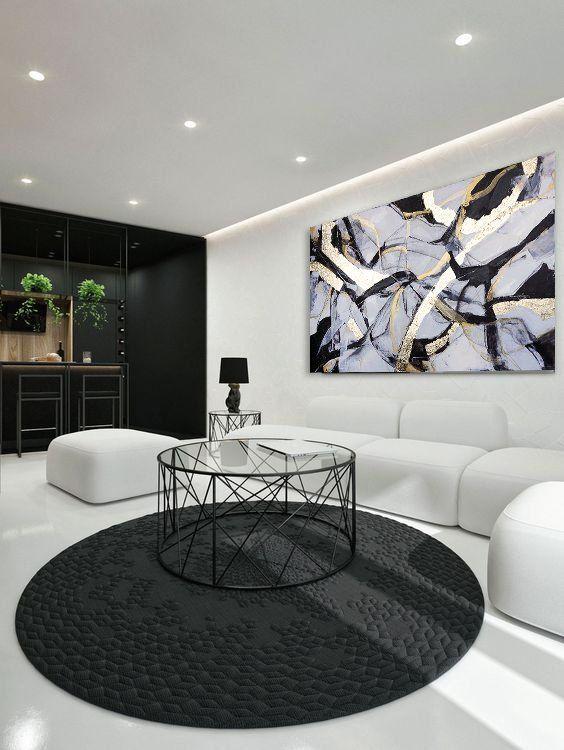 New Wave Minimalist Black And White Zen Gold Painting Large Etsy White Living Room Decor Monochrome Living Room Living Room White