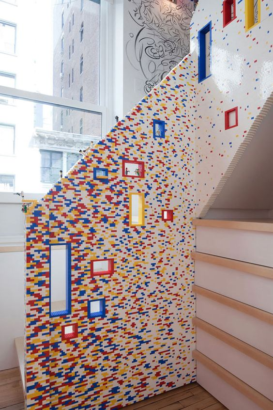 Stair rail made of Lego. Cool.     Architizer Blog » A New York Loft That Prizes LEGOs As Much As Mies's Barcelona Chair