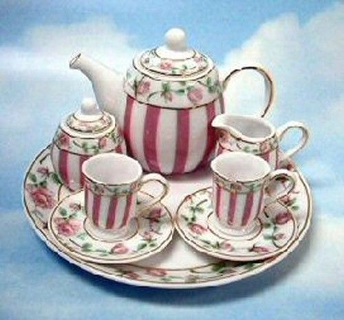 Unusual Mini Tea Set | miniature porcelain pink stripe with pink roses tea set this tea set ...