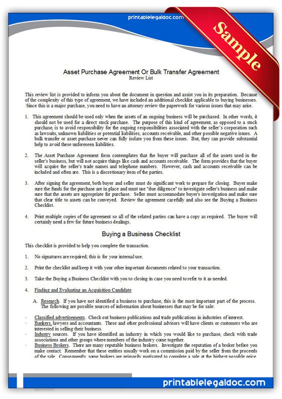 Free Printable Asset Purchase Agreement Sample Printable Legal - asset purchase agreement