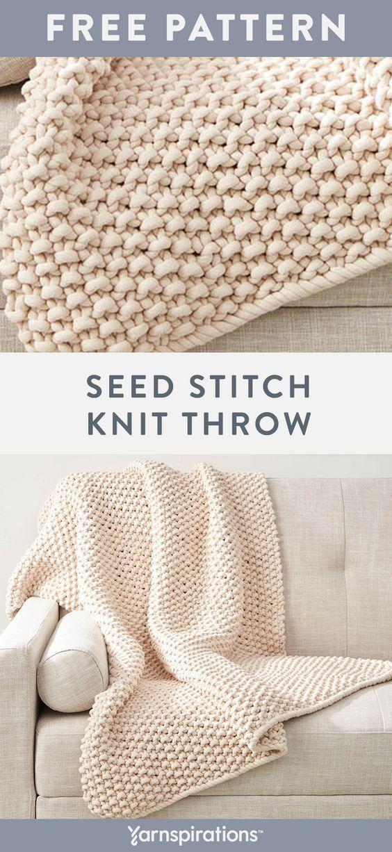 Free Knit Pattern Using Bernat Maker Big Yarn Free Seed Stitch Throw Knit Pattern Knit In One Piece Blanket Knitting Patterns Seed Stitch Knit Easy Knitting