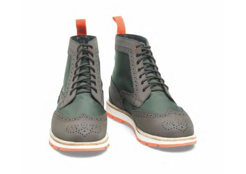 """SWIMS """"Charles"""" Brogue Boot - Made from a combination of nylon, leather and rubber (and treated with 3M for good measure), these water-resistant boots from SWIMS' Fall/Winter 2012 collection ensure you won't have to sacrifice style on rainy days."""