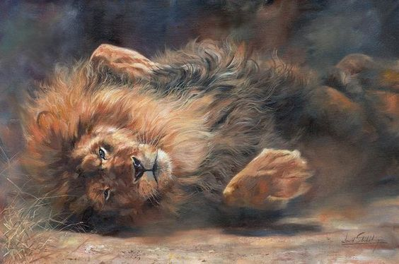 Lion Print featuring the painting Rocking And Rolling Part 2 by David Stribbling