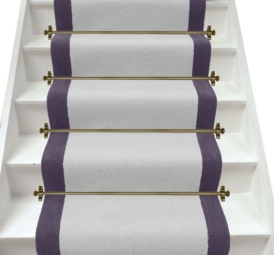 Best Plain Light Grey Purple Aubergine Stair Runner 400 x 300