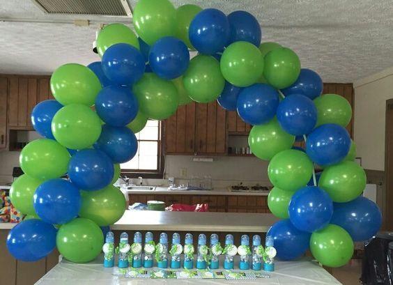 Baby Shower ideas green & blue balloon arch
