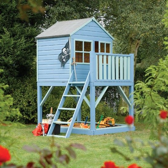 Similar style playhouse to our boys'.  Summer project to paint like this!  (Like the sandpit below, too.):