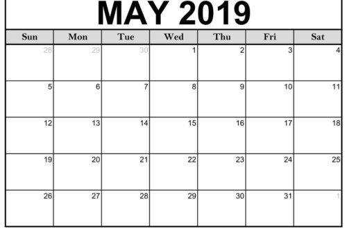 Printable May 2019 Calendar Templates 123calendars Printable