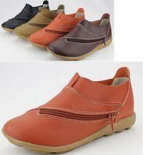 Новые 2016 весенние квартиры женщина женская обувь из натуральной кожи мать обувь плоский скольжению свободного покроя обувь женщины утешить обувь(China (Mainland))