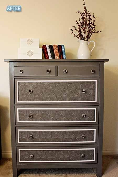 Dresser re-do. Modge podge lace onto the front of the drawers & then paint over the top.
