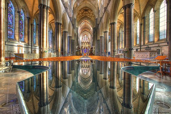 Salisbury Cathedral Interior Reflections by Adam Noosa, via Flickr. Cathedral of Saint Mary (Salisbury Cathedral), Salisbury, Wiltshire, England.
