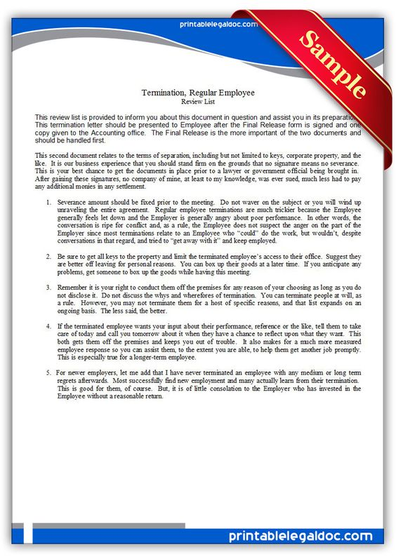 Free Printable Termination, Regular Employee Legal Forms Forms - employee release form