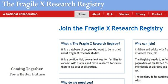 The Fragile X Research Registry -   -  Pinned by @PediaStaff – Please Visit http://ht.ly/63sNt for all our pediatric therapy pins