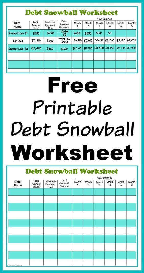 Dave Ramsey Debt Snowball Printable Debt Snowball Worksheet Budgeting Money Debt Snowball Debt payoff worksheet