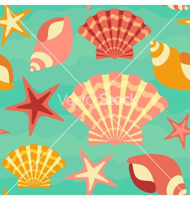 Sea shells seamless background vector by varbuka on VectorStock®