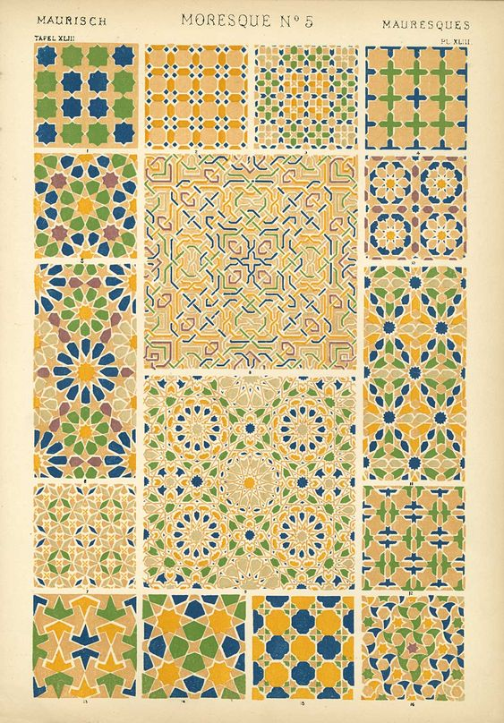 Moroccan zellij - geometric tile work - from Owen Jones, The Grammar of Ornament. While the book was published in 1856, many of the artworks depicted are much earlier.