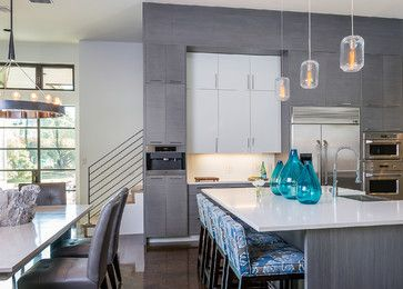 austin interior design - Grey wood, ontemporary kitchens and olored kitchen cabinets on ...