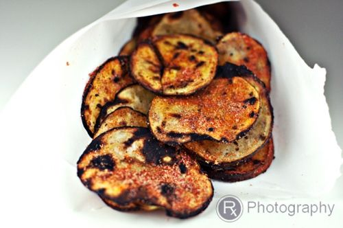 grilled barbecue potato chips with creamy chive dip
