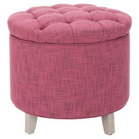 Layla Tufted Storage Ottoman in Rose