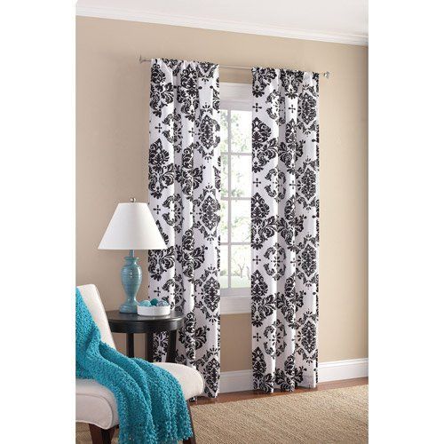 and white set of bold bedroom curtains black black white at walmart