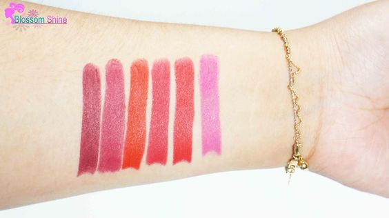 The Red Squad Hand Swatches (L-R): 704 Burgundy, 708 Elegance, 701 Valentine, 702 Love, 705 French Kiss, 711 Party Pop