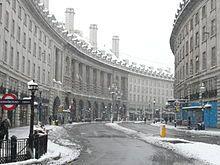 Regent Street in the snow.