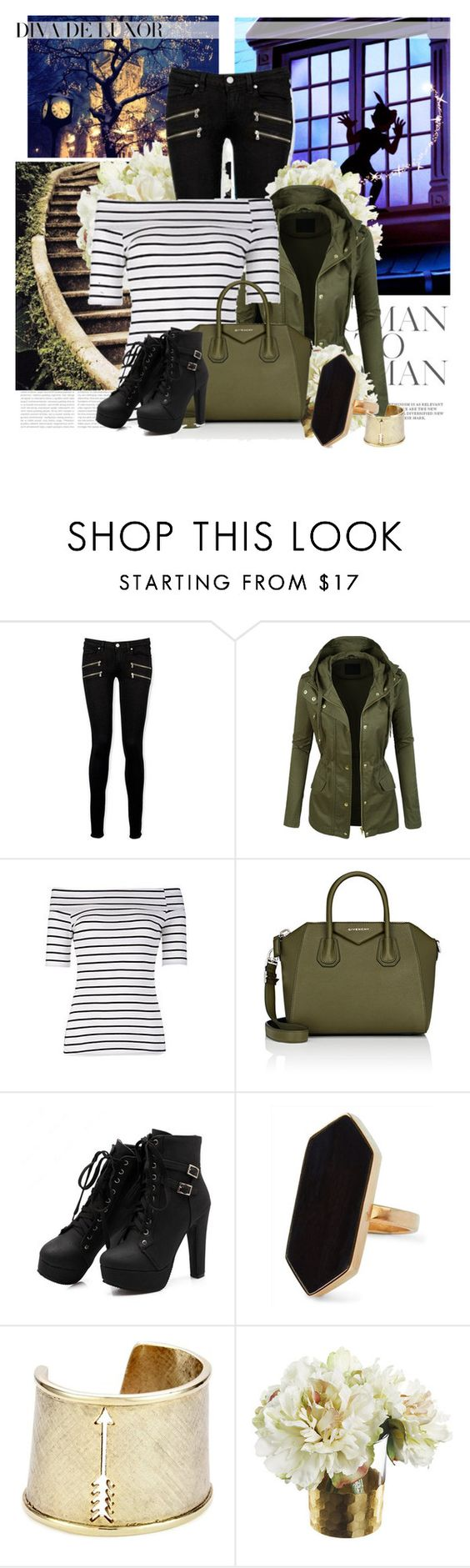 """Untitled #326"" by elanorjoy ❤ liked on Polyvore featuring Oris, Paige Denim, LE3NO, Bardot, Givenchy, Jaeger, House of Harlow 1960 and DIVA"