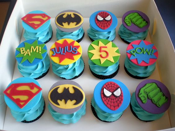 Look at the awesome detail on the Hulk hand by Sugar Siren Cakes Mackay: Superhero Cupcakes