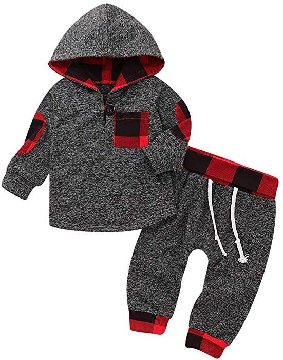 Newborn Baby Girls Boy Hooded Tops Pants Winter Clothes Outfits Sets Tracksuit