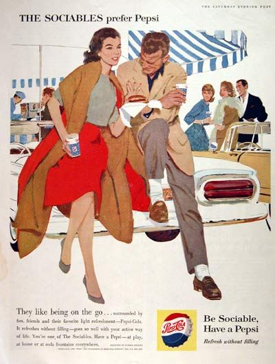 Funny 1960s ad campaign for Pepsi . . . . . .   I must be so unsociable, I can't stand the taste of Pepsi