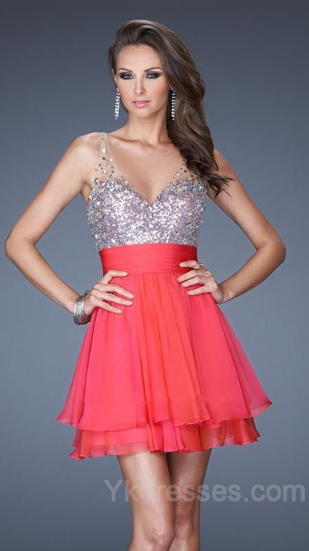 Coral sequins prom dress