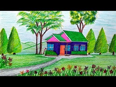 How To Draw A Beautiful House Step By Step Scenery Drawing For Kids Pastel Landscape Easy Scenery Drawing