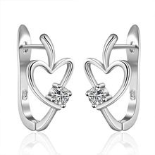 best friends 925 silver earings heart U stud orecchini 925 sterling silver Elegant SMTE603(China (Mainland))