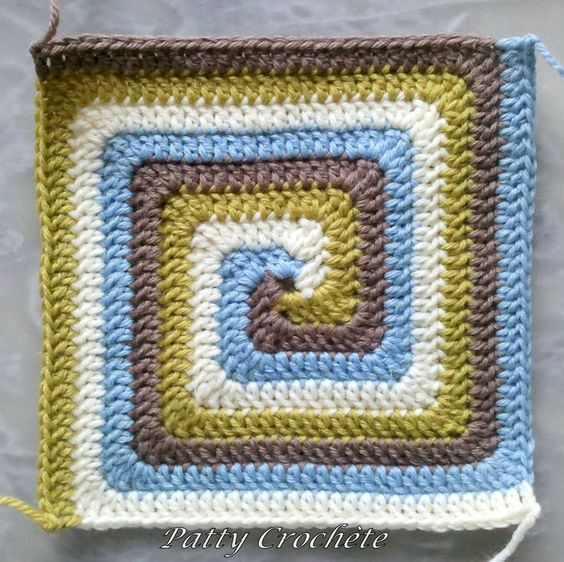Free Crochet Pattern Spiral Granny Square : Spiral crochet square crochet afghans Pinterest ...