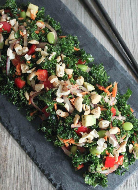 Kale Salad with Edamame, Roasted Cashews and Miso Dressing