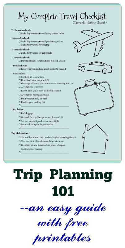 This lays out every step you need to take to plan a trip, in a very simple format...with free printables to help you keep track.