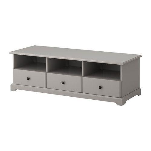 LIATORP Móvel TV IKEA Com gavetas que deslizam suavemente e com travão para se manterem no lugar.