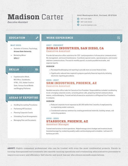 Resume Style Side Bar Of Education References Contact Info
