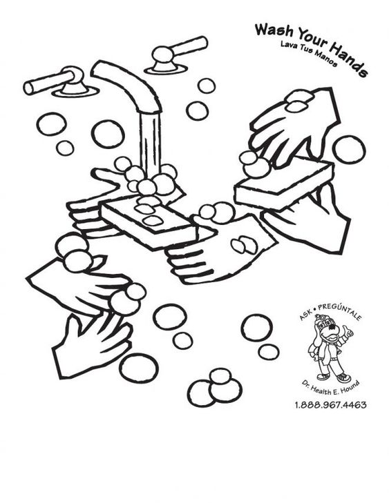 cleanliness hygiene germs colouring pages