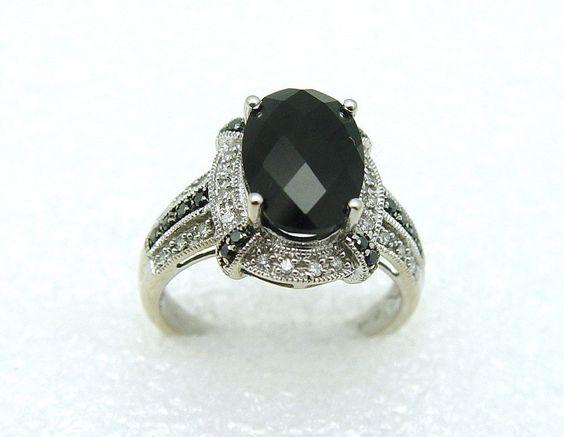 14K White Gold Onyx Center, 16 Black Diamonds, 28 Natural Diamond Ring #Onyx #BlackDiamonds #NaturalDiamonds