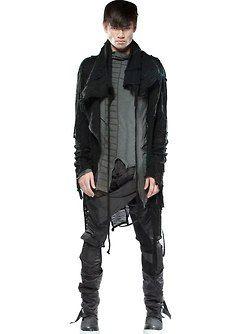 Demobaza Men's: Asymmetrical layer tops, distressed shirt, distressed jacket.