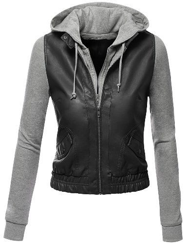 Doublju Women's Zip Up Faux Leather Moto Jacket with Hoodie Black ...